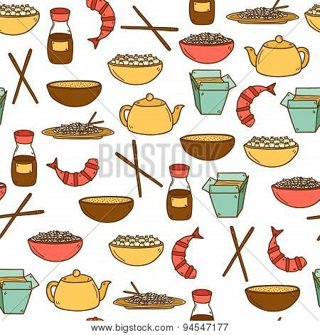 Seamless modern background with hand drawn cartoon objects on chinese food theme