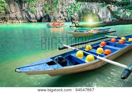 Longtail Boats At Cave Entrance Of Puerto Princesa Subterranean Underground River - Nature Trip