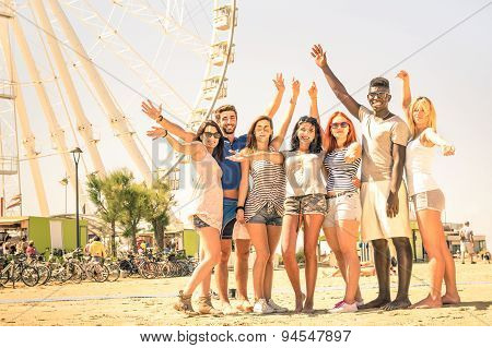 Group Of Multiracial Happy Friends Cheering At Ferris Wheel - International Concept Of Happiness