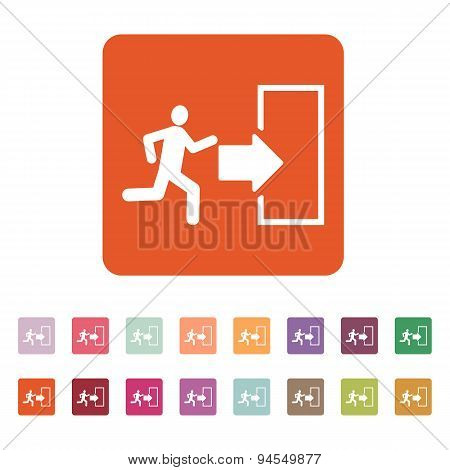 The exit icon. Emergency Exit symbol. Flat Vector illustration. Button Set poster