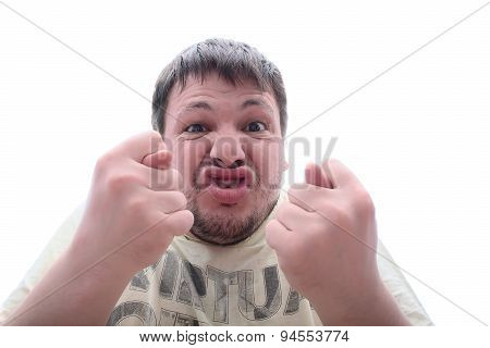 Angry Man Turns Emotionally Inadequate Fig Finger. Screams And Makes Faces.