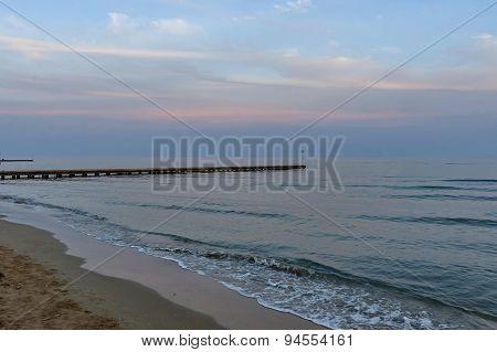 Fragment of Lido di Jesolo beach, Adriatic sea, venetian Riviera, Italy poster