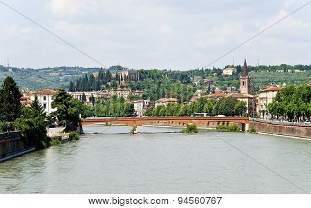 Verona. View From The Bridge On  Saint Peter's Castle.