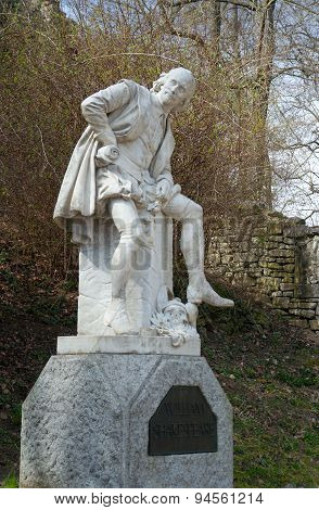 Monument of William Shakespeare (by Otto Lessing, 1904) in Park an der Ilm, Weimar, Germany poster