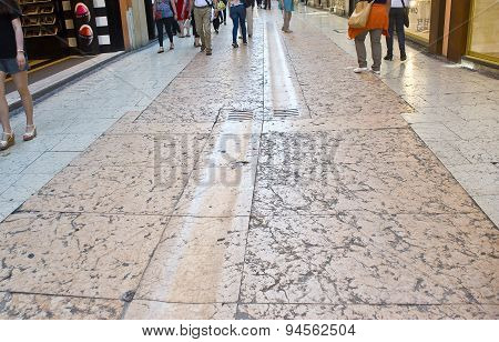 Verona. The Street  Paved By Pink Marble Slabs.