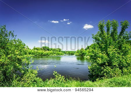 Nice View Of Wonderful River And Blue Sky.