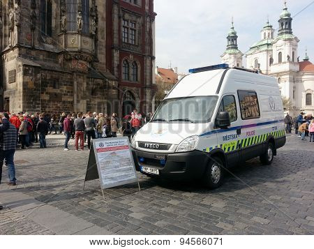 Municipal Police Van With Information Sign On Old Town Square, Prague