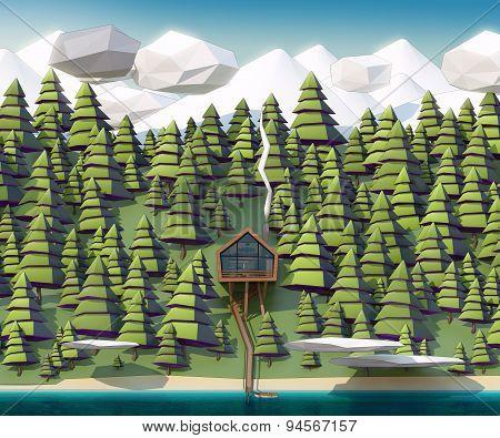 House On Wild Coast Of A Mountain River