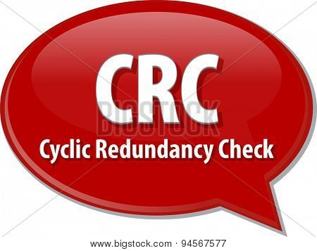 Speech bubble illustration of information technology acronym abbreviation term definition CRC Cyclic Redundancy Check