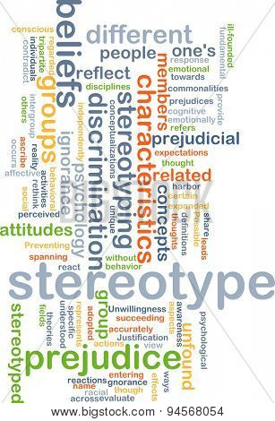 Background concept wordcloud illustration of stereotype