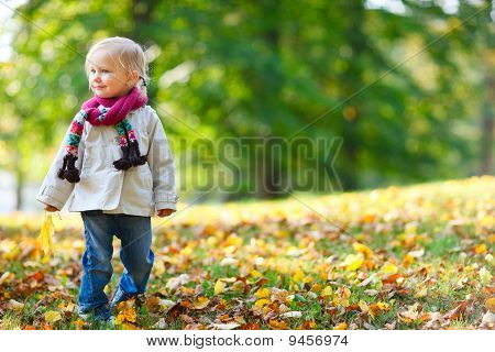 Toddler Girl In Autumn Park