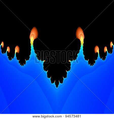 Abstract fractal flames salient from blue plasma poster