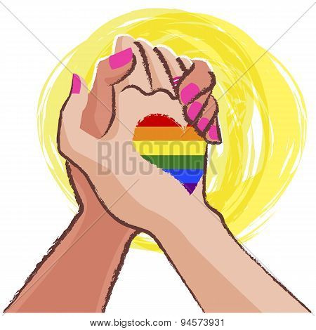 Lesbian Hand In Hand  - Lgbt Concept