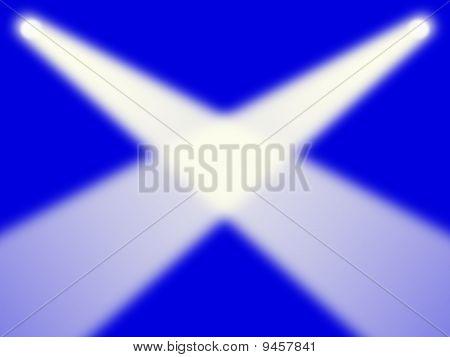 Scottish flag as spotlights concept