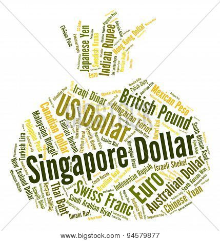 Singapore Dollar Represents Foreign Exchange And Banknote