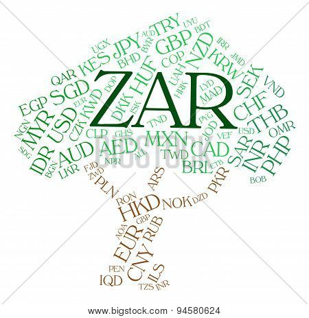 Zar Currency Indicates South African Rands And Currencies