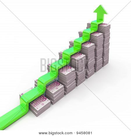 Graph from Euro stacks isolated on white