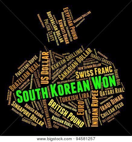 South Korean Won Shows Exchange Rate And Coinage