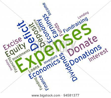 Expenses Word Represents Outgoing Outlays And Budgeting
