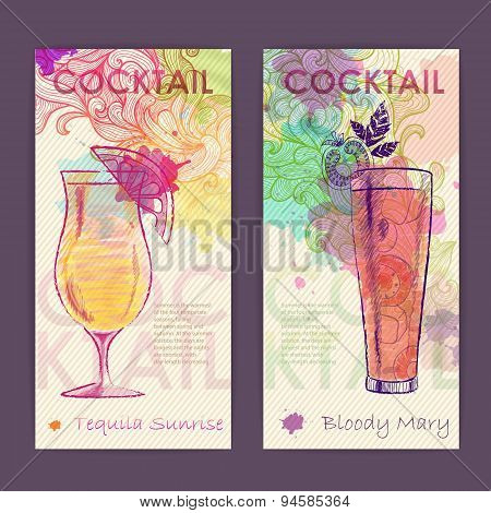Artistic Decorative Watercolor Cocktail Poster. Disco Background
