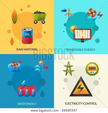 Energy Resources Icons Set