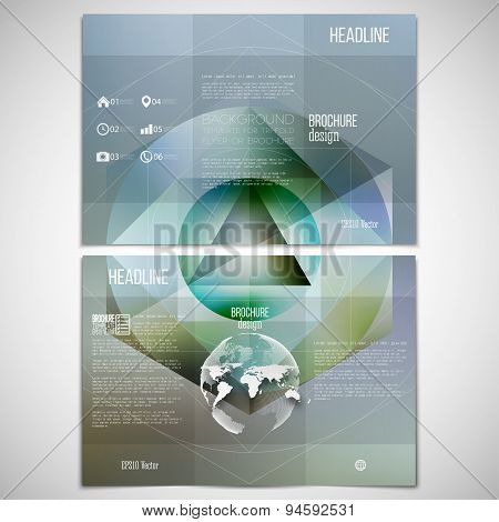 Vector set of tri-fold brochure design template on both sides with world globe element. Polygon patt