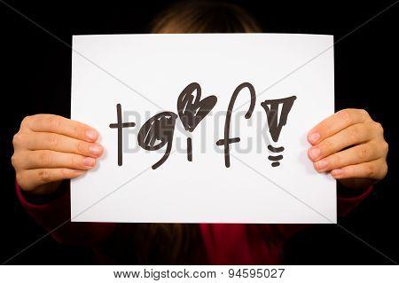 Child Holding Tgif Sign