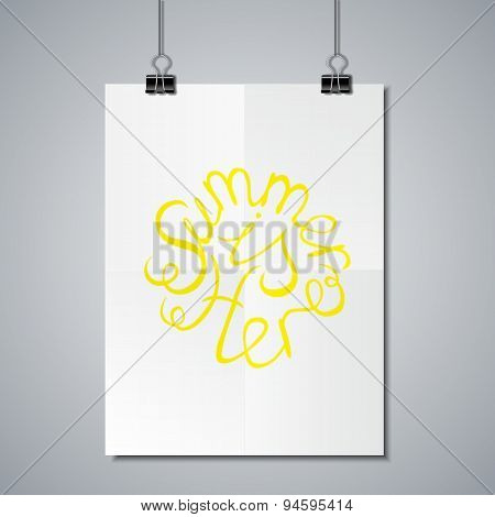 Poster Mockup Template with Lettering Element. Summer is here poster
