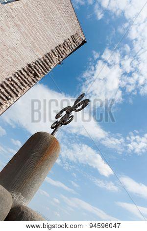 Iron Fleur Di Lis Architectural Detail In European Building Closeup.