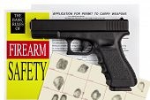 Pistol Handgun with Firearm Application and Concealed Weapons Permit CCW with Fingerprint ID poster