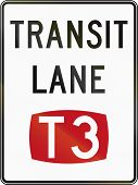 Australian regulatory sign - T3 Transit Lane poster