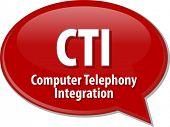 Speech bubble illustration of information technology acronym abbreviation term definition CTI Computer Telephony Integration poster