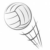 Vector illustration of Speeding Volleyball Motion in cartoon style isolated on white poster