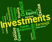 Investments Word Showing Return Invests And Growth poster
