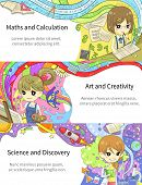 Stylish colorful infographic cartoon girl children studying maths and calculation art and creativity science and discovery in artistic fantasy banner background template layout design create by vector poster