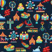 Amusement park seamless pattern with children attractions flat vector illustration poster
