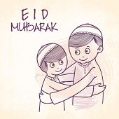 Cute Muslim boys hugging and wishing each other on occasion of Islamic festival, Eid Mubarak celebration. poster