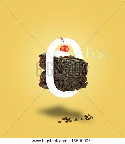 Isolated Zero calories chocolate cherry cake on yellow background. Chocolate cake zero calories. Chocolate pie. Flying brownie with cream.