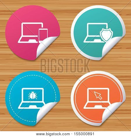 Round stickers or website banners. Notebook laptop pc icons. Virus or software bug signs. Shield protection symbol. Mouse cursor pointer. Circle badges with bended corner. Vector