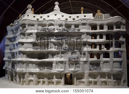 Barcelona, Spain - 24 September 2016: Casa Mila La Pedrera scale model. Casa Mila La Pedrera in Catalonia, Spain maquette, a building designed and constructed by architect Antoni Gaudi between 1906 and 1912.