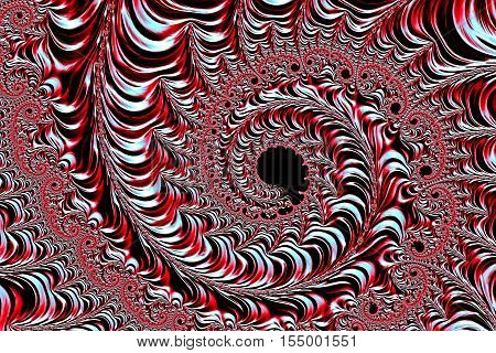 Abstract metallic background - computer-generated image. Fractal geometry: a complex pattern of a plurality of coils of different size as if minted on a metal surface. For covers, banners, web design