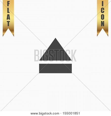Eject or open player. Flat Icon. Vector illustration grey symbol on white background with gold ribbon
