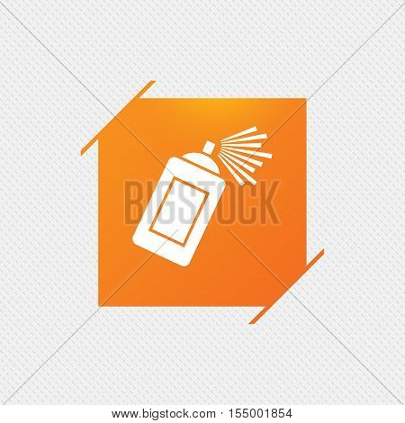 Graffiti spray can sign icon. Aerosol paint symbol. Orange square label on pattern. Vector