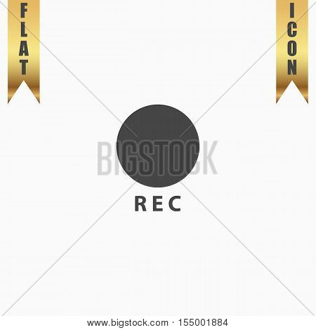 Rec button. Flat Icon. Vector illustration grey symbol on white background with gold ribbon
