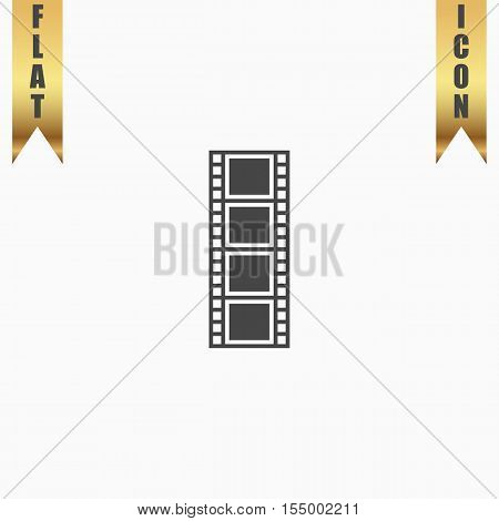 Cinematographic film. Flat Icon. Vector illustration grey symbol on white background with gold ribbon