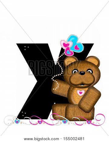 Alphabet Teddy Valentines Cutie X