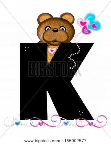 Alphabet Teddy Valentines Cutie K