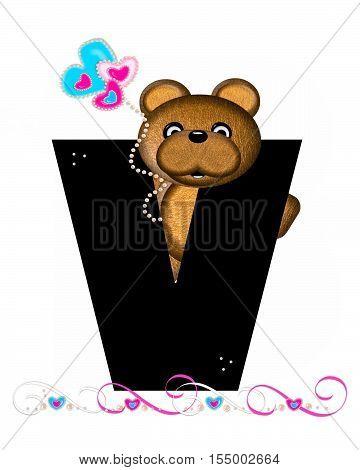 Alphabet Teddy Valentines Cutie V