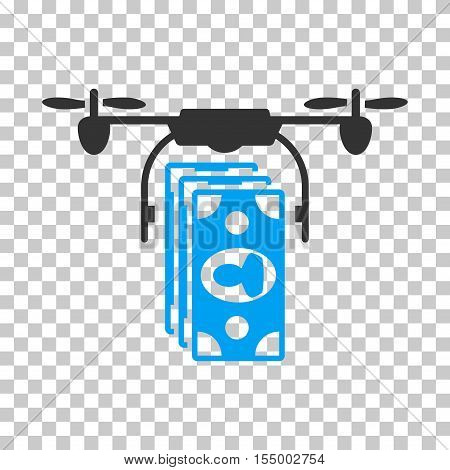 Drone Banknotes Payment interface toolbar icon. Vector pictograph style is a flat bicolor symbol, blue and gray colors, chess transparent background. poster