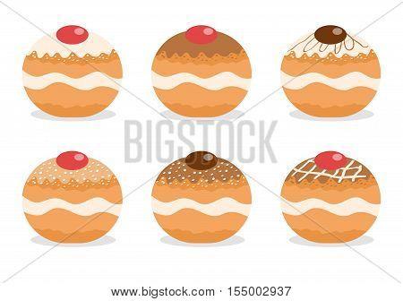 Sufganiyot set. Jewish donut set. Jewish traditional dessert on the holiday of Hanukkah. Vector illustration